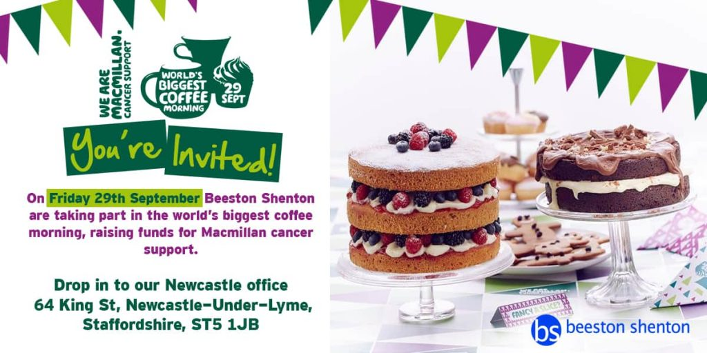 You're Invited! Macmillan Coffee Morning, Newcastle-Under-Lyme, Friday 29th September
