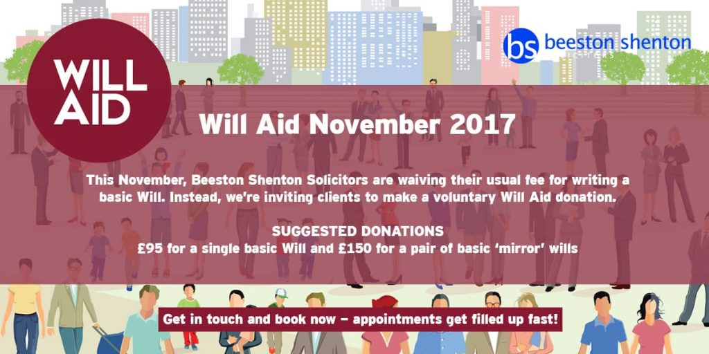 Beeston Shenton Solicitors Set to Take Part in Will Aid This November
